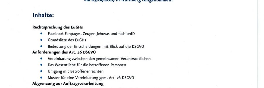 Fortbildung zum Thema der Gemeinsamen Verantwortlichkeit nach Art. 26 DSGVO